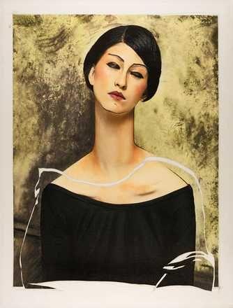 Efren Isaza, Women VI (after Modigliani), 2014 / 2016 © www.lumas.de/ #Lumas,  Bob,  Frau,  Frauen,  grafisch,  grafisch,  Kleid,  Malerei,  Mode,  Modigliani,  Portrait,  Prominenter,  schwarz