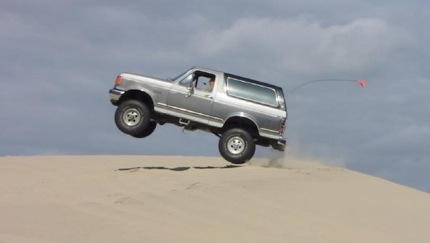 My 1990 Bronco ... air under all four !!! 350HP 347 stroker Bronco with the pro-comp lift, lockers front and back, msd pro billet distributor,msd multi spark offroad ignition with a holley truck avenger baffled offroad carb, holley electric fuel pump, ceramic coated exhaust headers, 3.5 inch flowmaster exhaust running kevlar goodyear wrangler mt/rs, performance shift kit