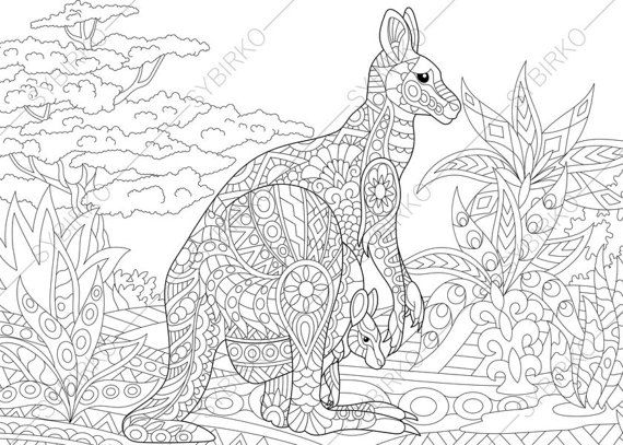 adult coloring pages kangaroo family zentangle doodle coloring book page for adults digital illustration instant download print