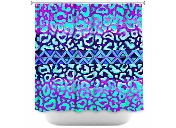 Ebi Emporium Fine Art Designer Shower Curtain, Artist Julia Di Sano on Dianoche Designs, Elegant Animal Print Leopard Pattern Tribal Aztec Geometric Triangles Ombre Abstract Painting Bathroom Decorative Home Decor Blue Green #blue #lilac #animalprint #leopard #aztec #tribal #geometric #pattern #indigo #navyblue #turquoise #aqua #lavender #purple #ombre #painting #bathroom #decor #showercurtain #shower #homedecor #dorm #stylish #modern #chic #style #girly #feminine