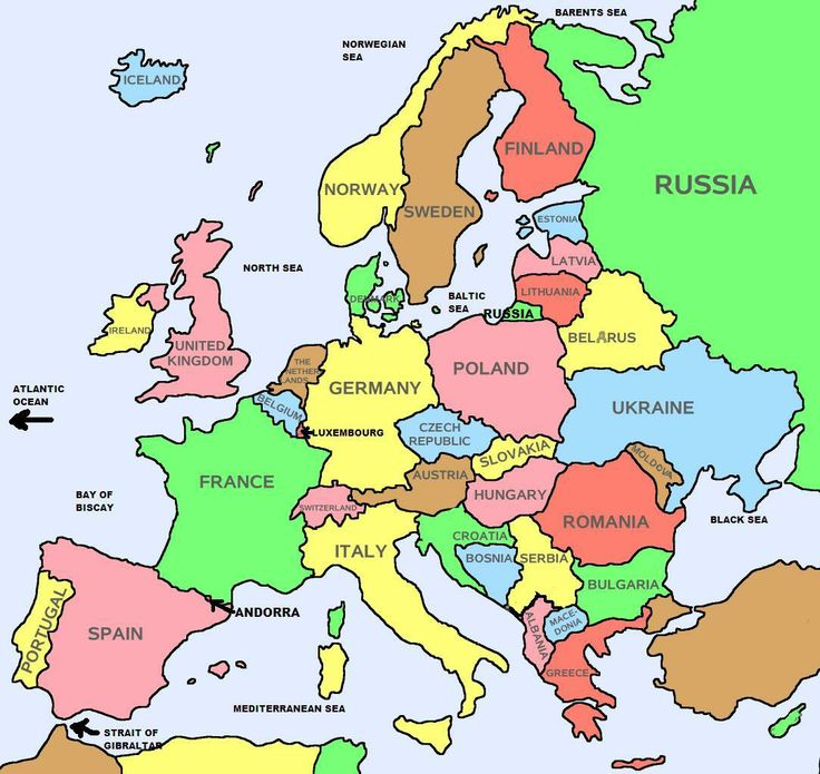 Basic (countries only) map of Europe