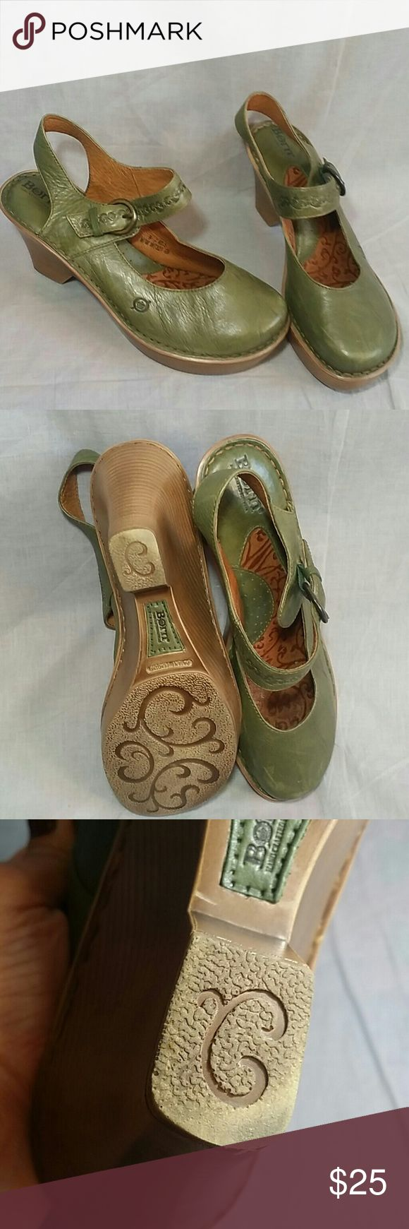 """Born Clogs Mary Jane Shoes Green 9/40.5 M Leather Women's clogs heels 3.5"""" ankle strap item is in a good condition. Born Shoes Heels"""