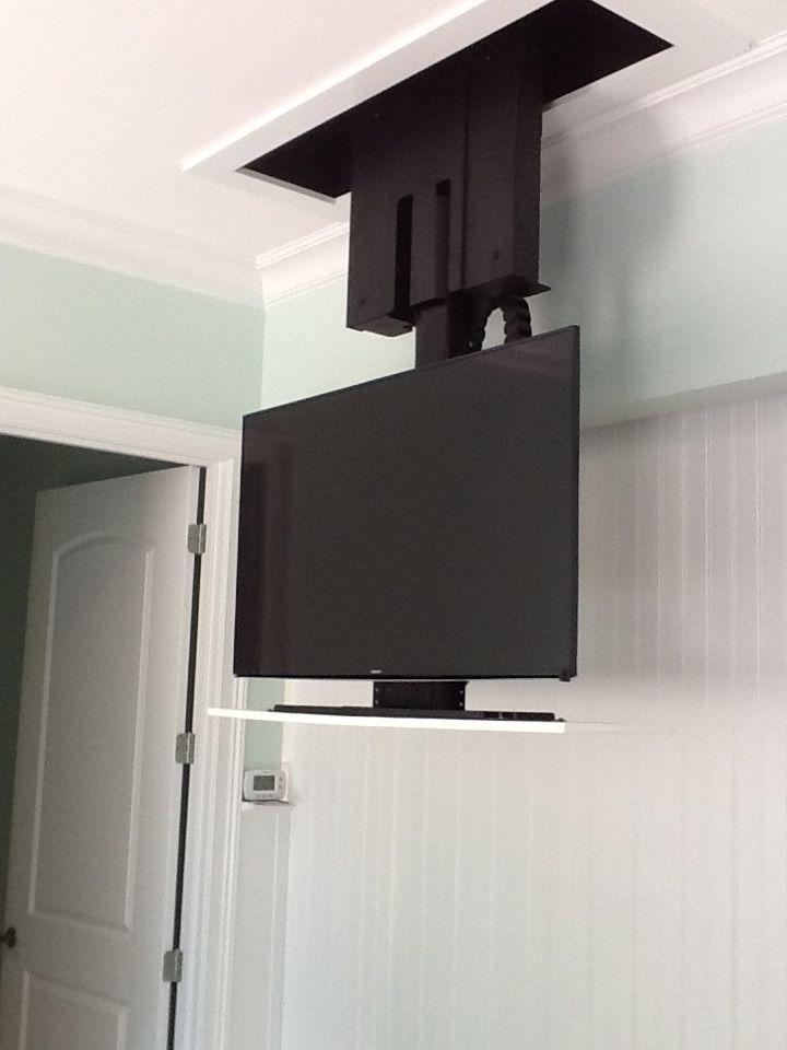 Retractable TV in bedroom