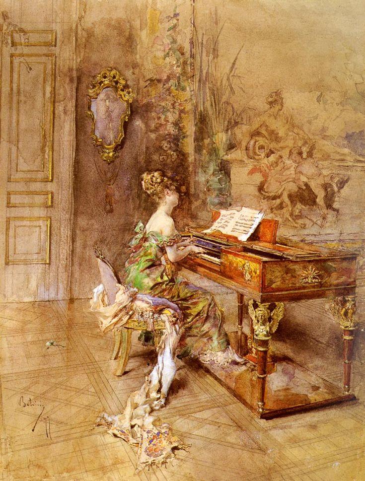 """Giovanni Boldini (1842-1931) La Pianista Oil on canvas  39 x 30 cm (15¼"""" x 11¾"""") Private collection"""