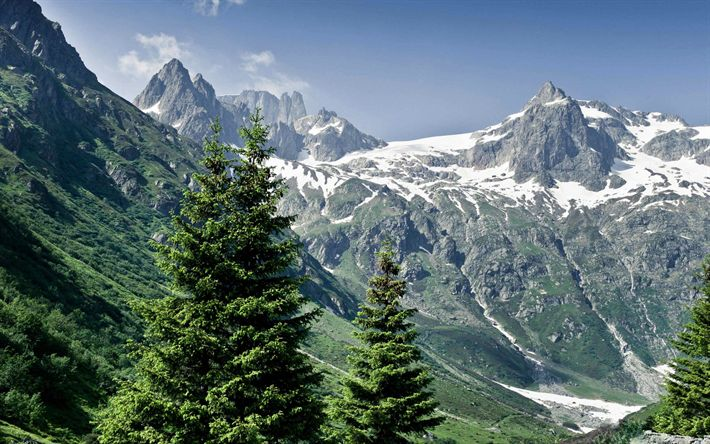Download wallpapers Alps, 4k, mountains, summer, mountain slopes, Europe