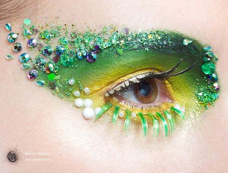 Sequin and pearl mermaid or fairy eye-makeup