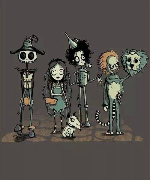 Jack Skellington as Scarecrow Corpse Bride as Dorothy Frankenweenie as Toto Edward Scissorhands as Tin Man Beetlejuice as Cowardly Lion & Tim Burton as The Wizard..