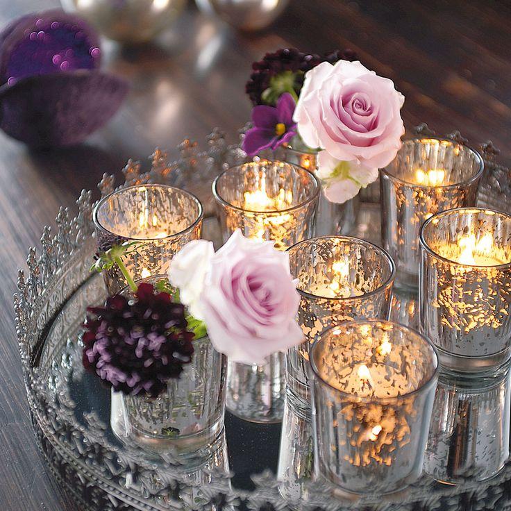 Tablett mit Teelichglsern und Blumen  stylefruits Inspiration  #silber #rosa #kerzen #teelicht