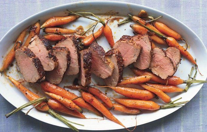 Spice-Rubbed Pork Tenderloin with Roasted Baby Carrots - Bon Appétit