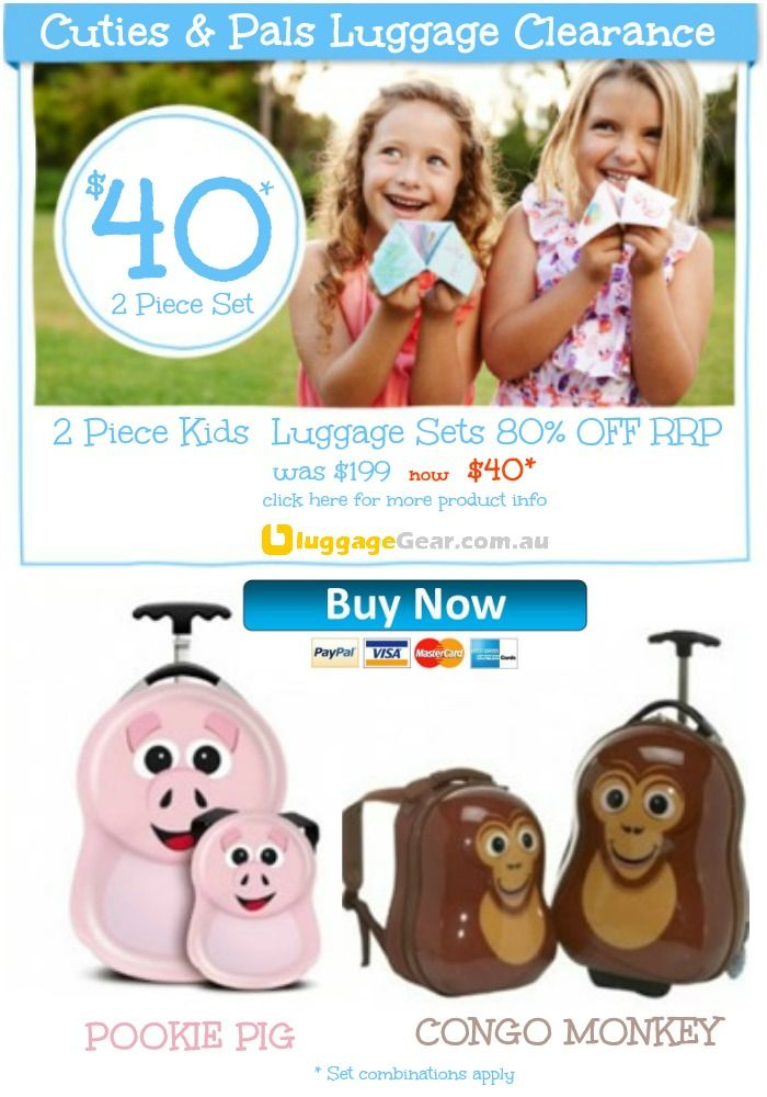 Cuties & Pals 2 Piece Kids Luggage Reduced to clear now $40 - that's 80% off RRP. http://www.luggagegear.com.au/safe-skies/cuties-and-pals/