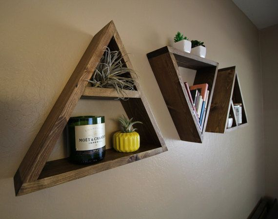 Knotty By Nature Decor - Handcrafted & Made to Order  [ D E S C R I P T I O N ] Our Triangle Floating Shelf is great for wall storage and adding a…