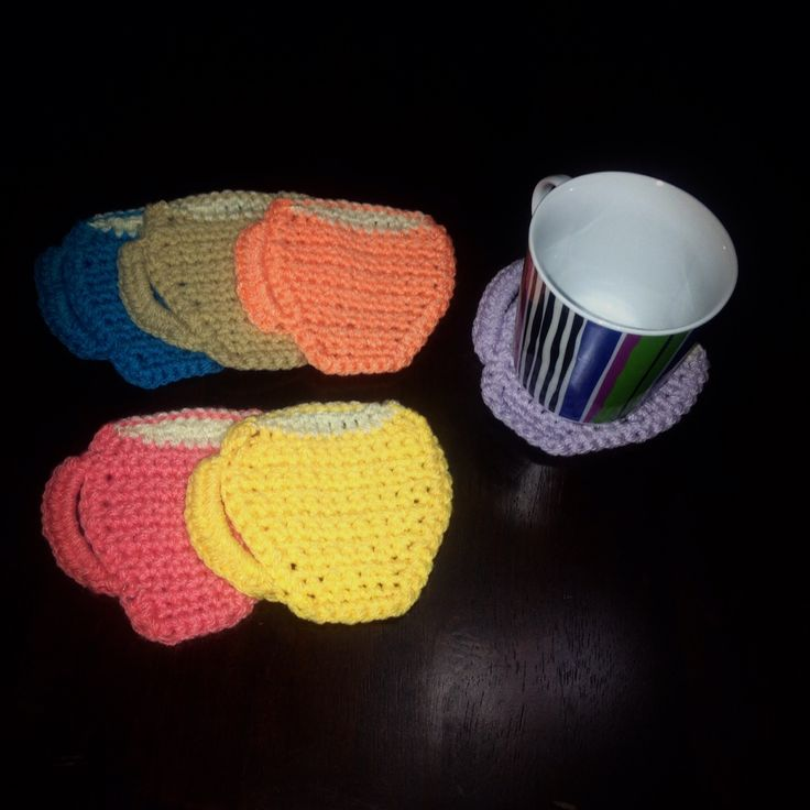 Colorful crochet coffee coasters!!!