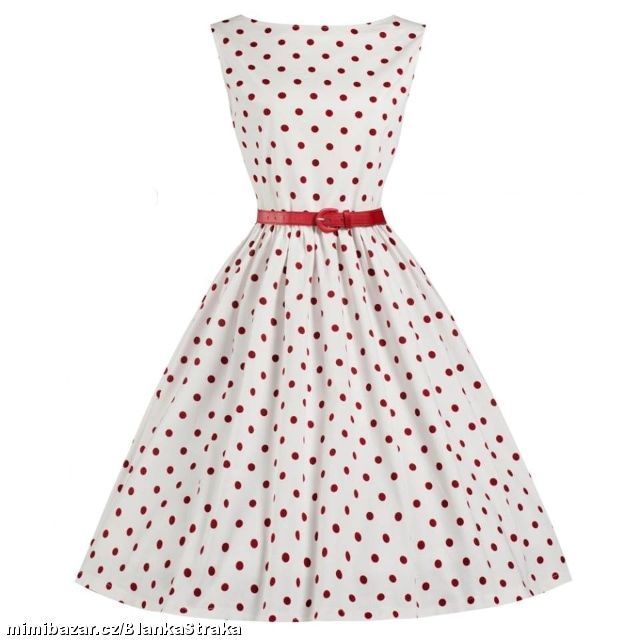 vintage polka dress white red