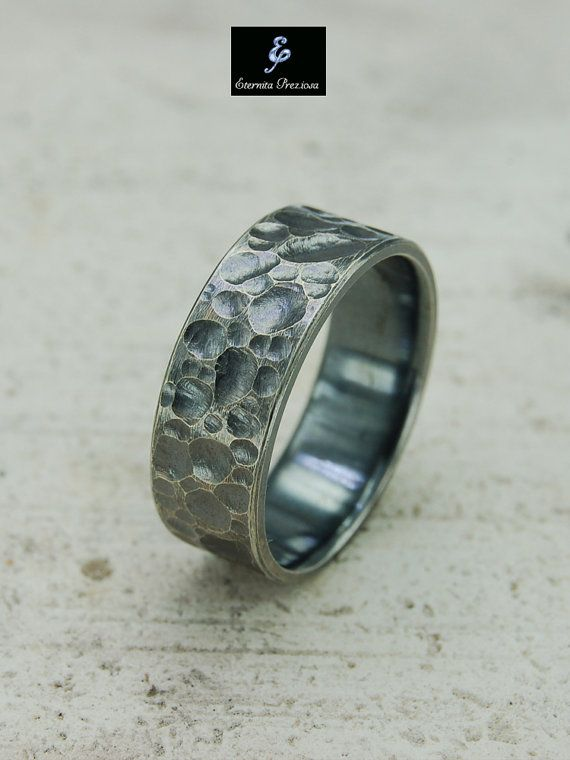 7.5mm Hammered Silver Ring Men's silver ring by EternitaPreziosa