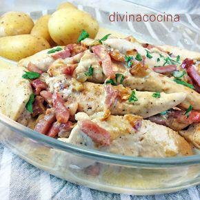 Esta sencilla receta de pollo a la carbonara se prepara al momento y resulta un plato muy sabroso y consistente. Se puede servir con una ensalada verde.