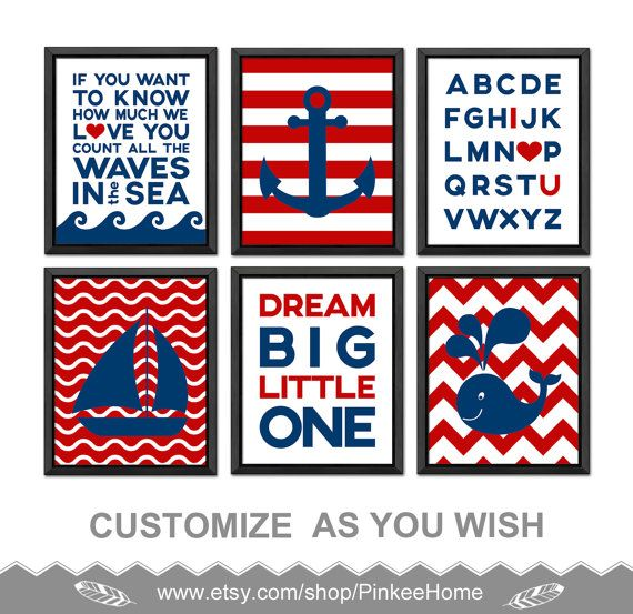 Nautical Baby Room Decor, Nautical Nursery Prints Navy Red, If You Want To  Know, Anchor Whale Boat Nautical Kids Decor Print/Canvas/Digital