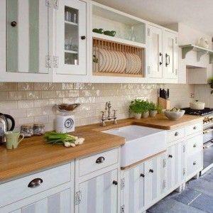 Image result for farmhouse sink, butcherblock counter, subway tile backsplash, shaker cabinets