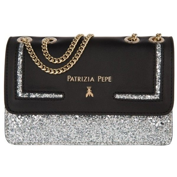 Patrizia Pepe Shoulder Bag - Shiny Mini Clutch Silver/Black - in... (€245) ❤ liked on Polyvore featuring bags, handbags, shoulder bags, silver shoulder bag, mini shoulder bag, long strap shoulder bags, handbags shoulder bags and long shoulder bags