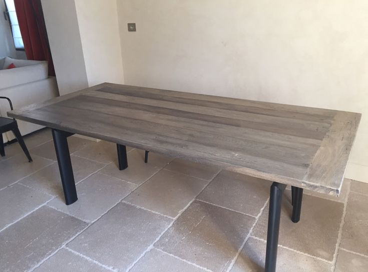 8 best table en vieux bois images on pinterest old oak tree furniture and table tray - Fabrication table bois ...