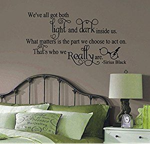GMDdecals® Inspirational Wizard Harry Potter Light & Dark Sirius Black Quote Hogwarts Decor Wall Decal [Glossy Black]- 24 inches x 15 inches -Adhesive High Glossy Vinyl [3mil] **Made In USA**
