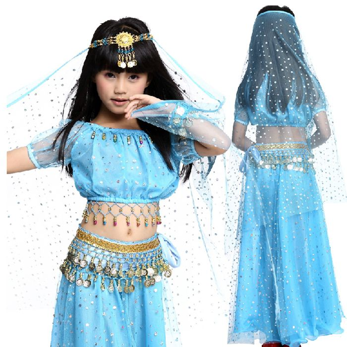 US $21.00 / piece Belly Dance Costums Performance/Training Set Professional 3 Pcs Top&Waist Chain&Skirt Ropa Bellydance Kids Belly Dancing Outfit