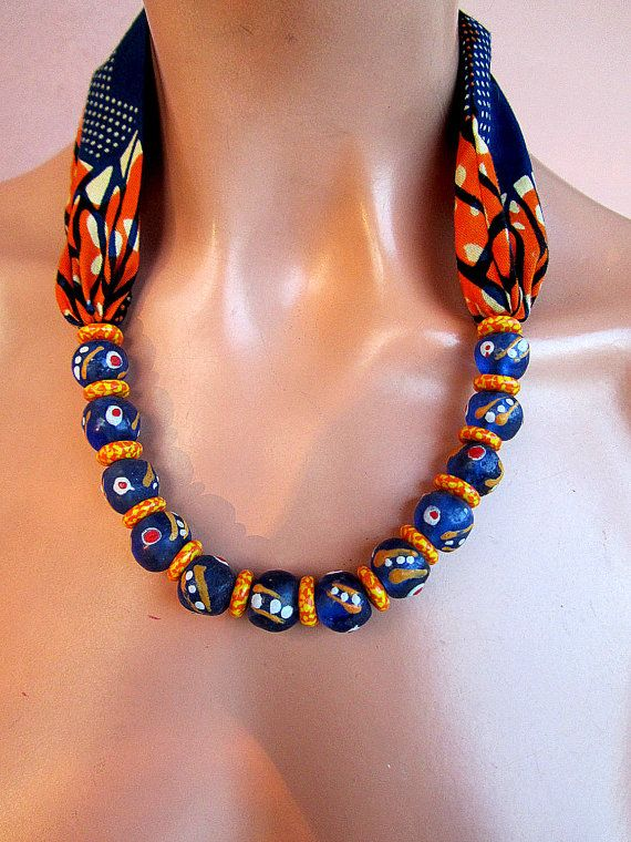 African Wax Print Fabric With Recycled Glass Beads By