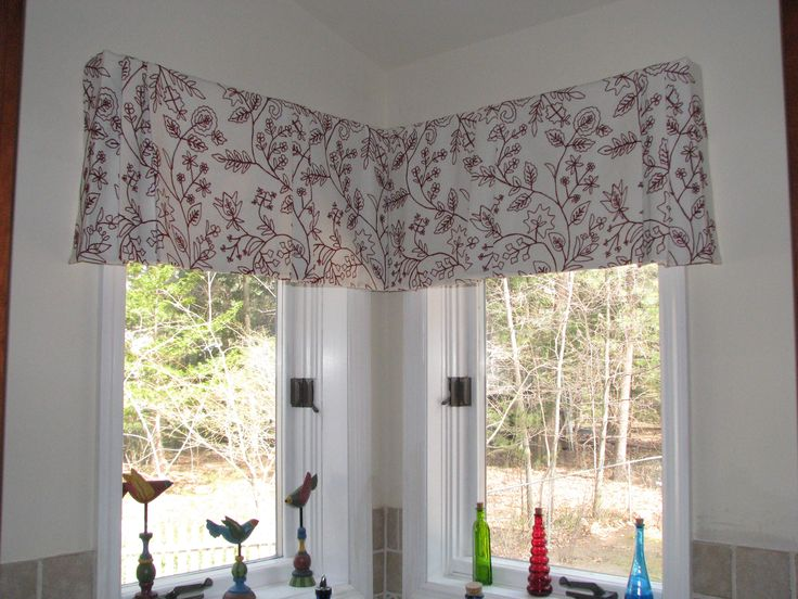 Tailored Pleated Valance For Corner Window In Embroidered