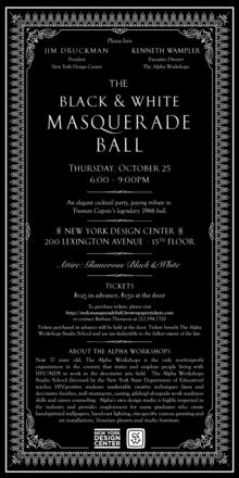 Invitation --The Black and White Masquerade Ball