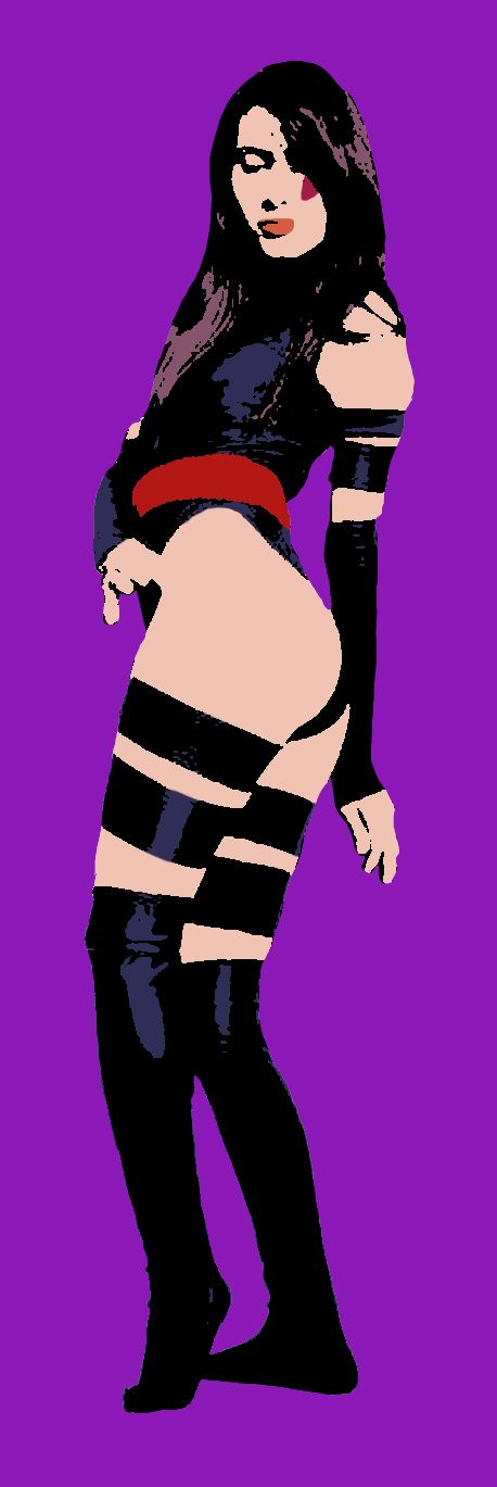 Pop Art style portrait of Cristina Vee, doing a pose while cosplaying as Psylocke. Created for Digital Imagery for the Fine Artist at Palm Beach State College.