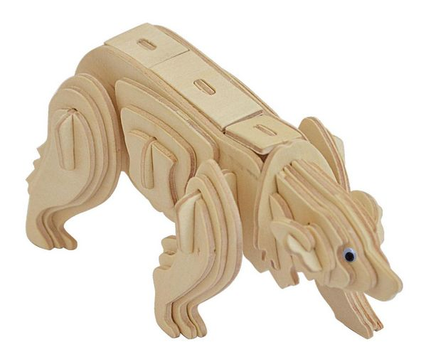 Polar Bear----DIY 3D Jigsaw Woodcraft Animal Kits Realistic Wooden Model Toy