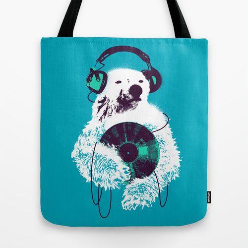 """""""Record Bear"""" Tote Bag by Budi Satria Kwan on Society 6."""