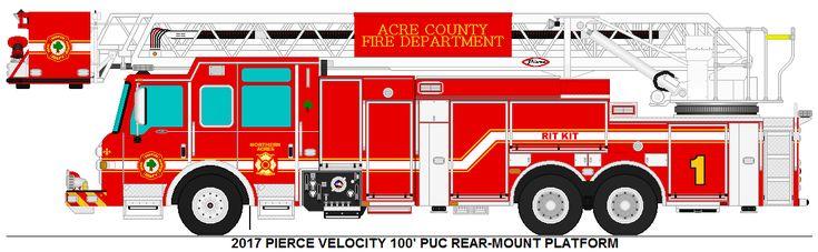 2017 Pierce Velocity 100' PUC Rear-Mount Platform Acre County Fire Dept. Ladder 1