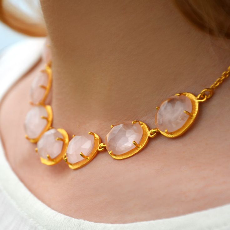 Cuff and Stone Beautiful Rose Quartz Gold Collar Necklace