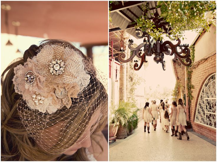 cute birdcage veil and bridesmaids in boots!