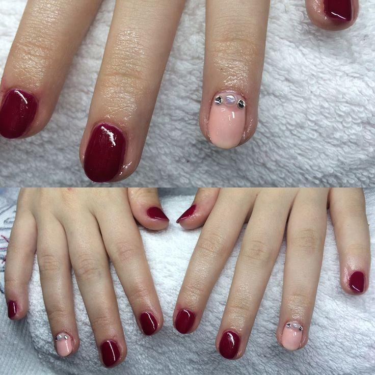 gel lac nail polish red pink princess style cute