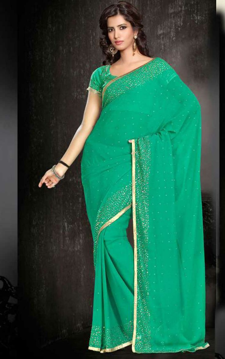 GREEN GEORGETTE LATEST SAREE - SIL 7125