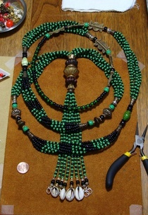 """""""Ogun Oggun"""" This piece is a one of a kind, inspired by Baba Ogun. The one who clears our path . . .  Available for purchase at BeadZoneJewelry.com"""