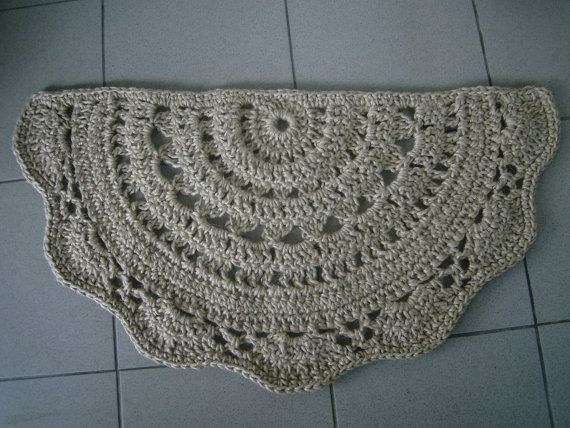 Semicírculo felpudo, Crochet yute puerta alfombra, alfombra de cocina, alfombra tapete