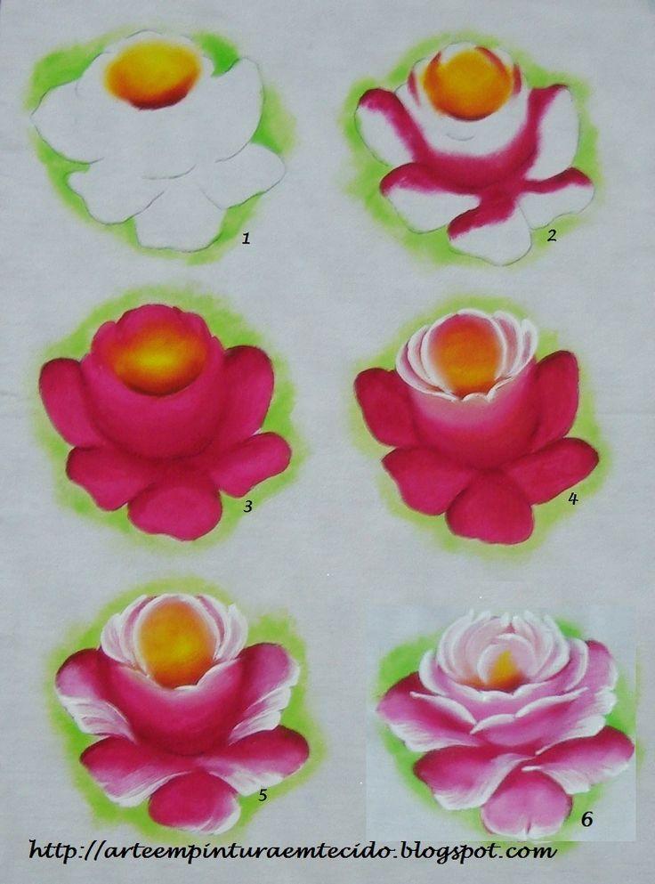 Pintura em Tecido Passo a Passo das rosas
