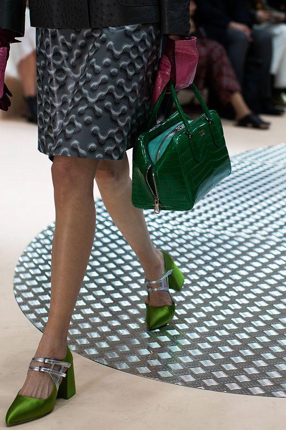 b6907e1c509 Unbelievably beautiful Prada shoes and bag Winter 2015 show.   Greens   Prada  shoes, Fashion, Fall accessories
