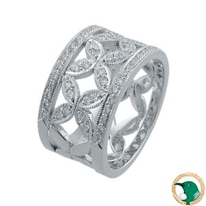 Forever Always Celtic Diamond ring  18ct white gold ring connecting a series of four petal daisies (7mm wide), edged with white gold diamond set rails - diamonds are set half way around the band (total of x72 diamonds - TDW .40ct).