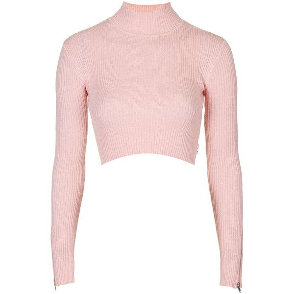 TOPSHOP Turtle Neck Crop Top by UNIF ($90) ❤ liked on Polyvore featuring tops, pink, pink crop top, pink top, crop top, cropped turtleneck and turtleneck tops