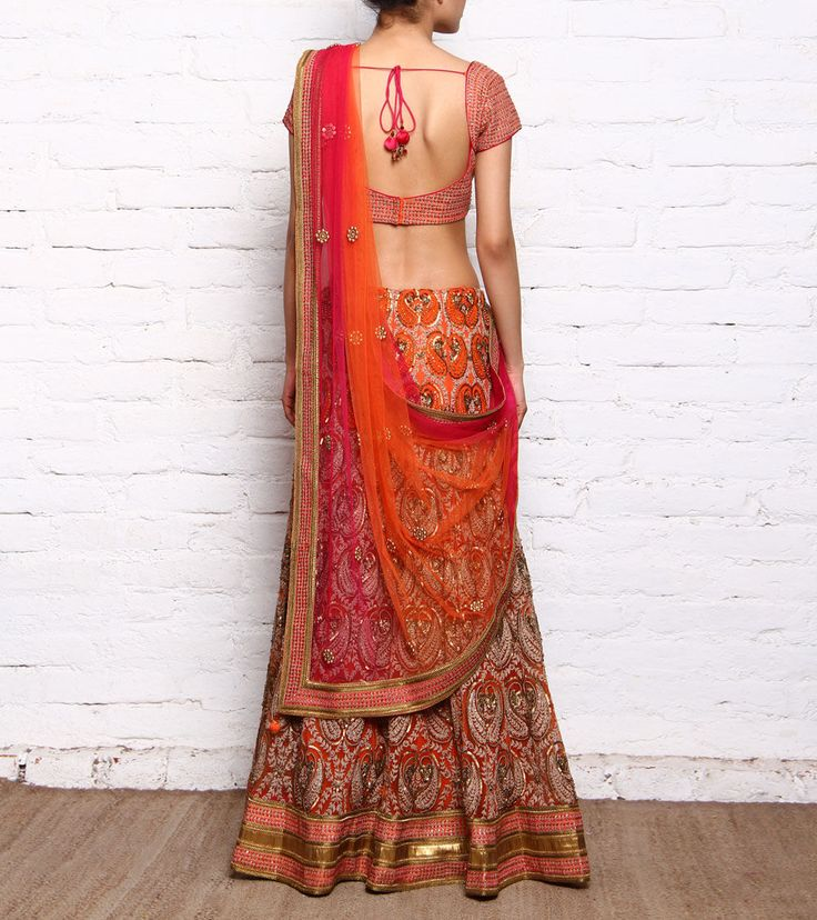 #Orange #Embroidered #Crepe & #Net #Lehenga #Set from #Bhanuni By #Jyoti at #Indianroots Was $4,400 | Is $2,200