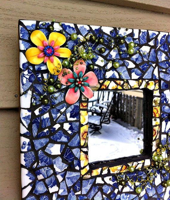 Mosaic Mirror Flowers Blue White Shabby Cottage Chic Pique Assiette
