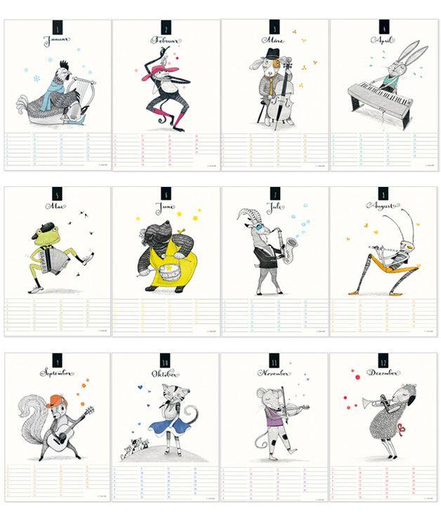 Geburtstagskalender - Tierisch musikalisch! Geburtstags-Kalender - ein Designerstück von KatrinaLange bei DaWanda