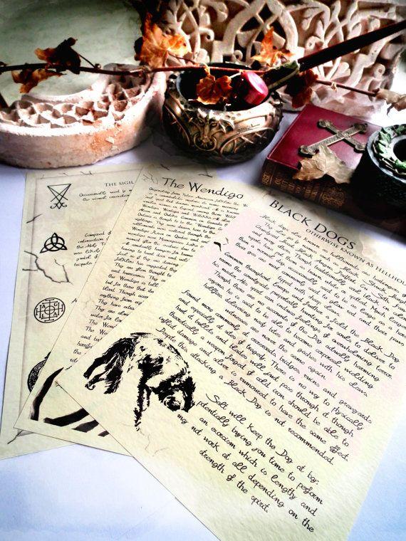 Übernatürliche Zeitschrift Seiten - Fabelwesen böse Geister, Dämonen, Siegel Symbole Hexerei