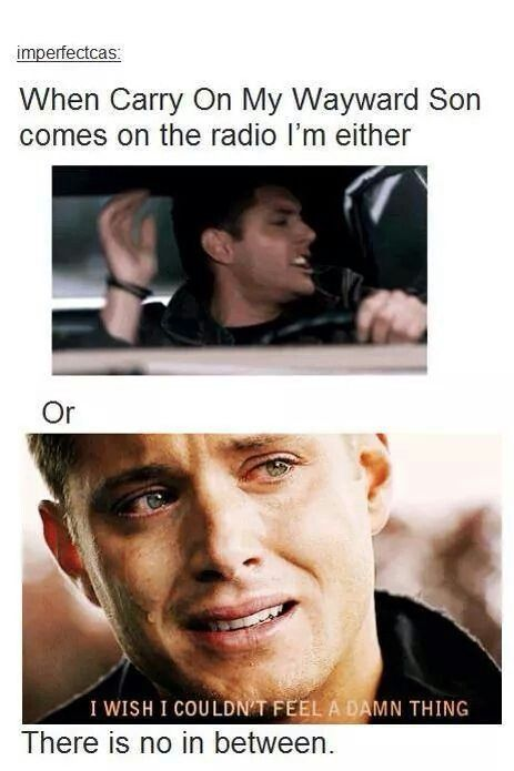 Sometimes it's both - although it's never on the radio, so it's on when I;m watching Supernatural and I'm upset because it's the season finale and that means tears or I play it on purpose so that mean's I love it and it's a dance party for one :3