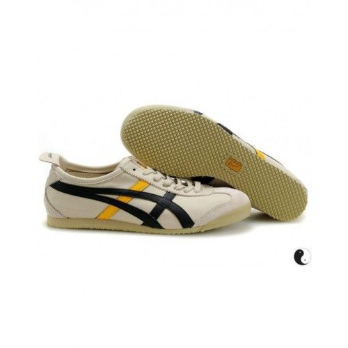 2012 Asics Onitsuka Tiger Mexico 66 Mens Shoes Black Grey Yellow