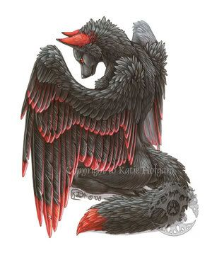This is cool. The black wolf with red on the tip of its feathers and on the ears