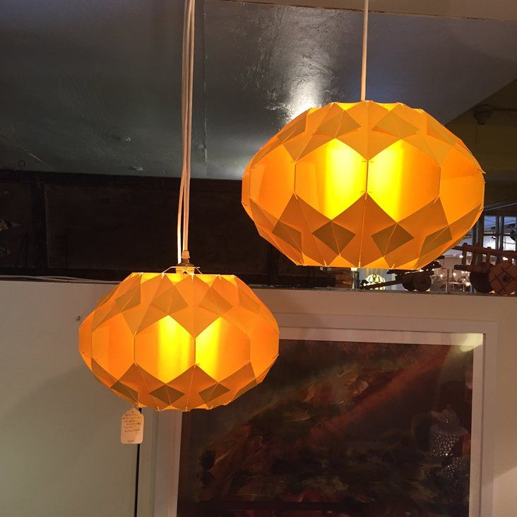 "A great pair of vintage plastic ""Origami"" Pendants. These are in excellent condition"
